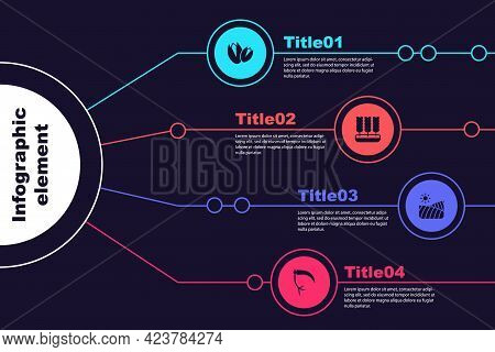 Set Pistachio Nuts, Wheat, Agriculture Wheat Field And Scythe. Business Infographic Template. Vector