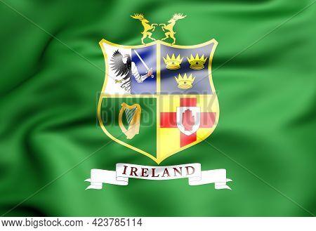 3d Flag Of Ireland Hockey Team. 3d Illustration.