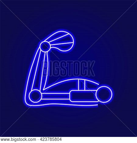 Muscular Arm With Exoskeleton Outline Icon. Cyberpunk Idea. High Tech Technology. Blue Neon Symbol.