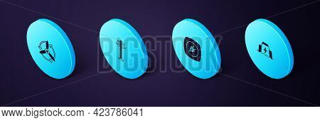 Set Isometric Hydroelectric Dam, Electric Plug, Tower And Wind Turbine Icon. Vector