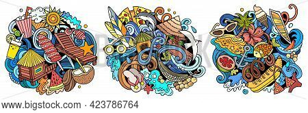 Summer Beach Cartoon Vector Doodle Designs Set. Colorful Detailed Compositions With Lot Of Summertim