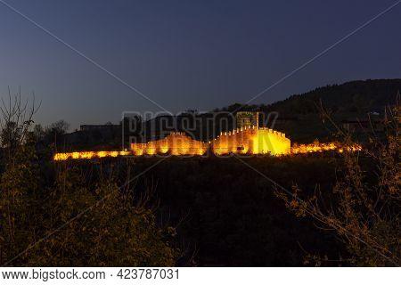 Night View Of Ruins Of Medieval Fortification At Trapezitsa Hill, Veliko Tarnovo, Bulgaria