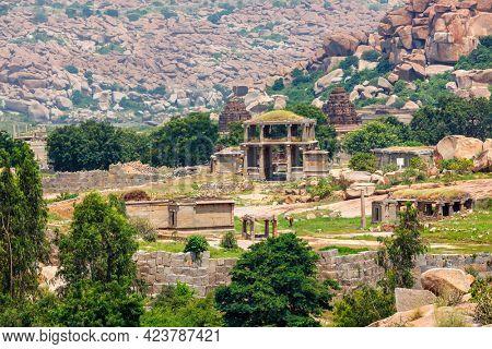 Ancient ruins of Hampi. Way to Vittala Temple. Hampi, Karnataka, India
