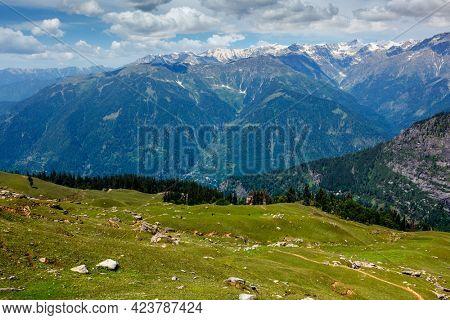Spring meadow in Kullu valley in Himalaya mountains. Himachal Pradesh, India