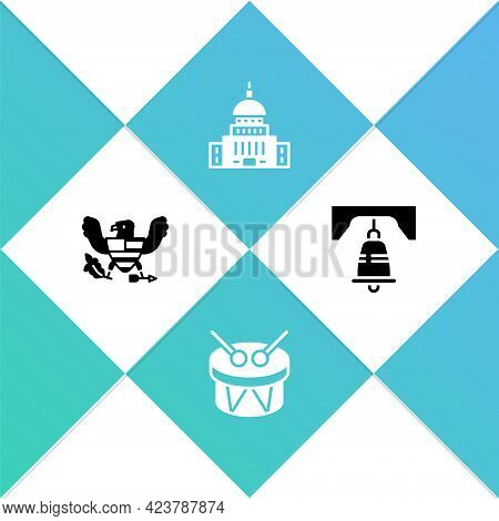 Set Eagle, Drum And Drum Sticks, White House And Liberty Bell In Philadelphia Icon. Vector