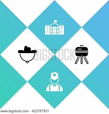 Set Western Cowboy Hat, Sheriff, United States Capitol Congress And Barbecue Grill Icon. Vector