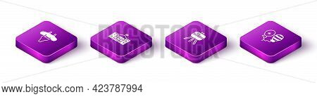 Set Isometric Sausage On The Fork, United States Capitol Congress, Barbecue Grill And Balloons Icon.
