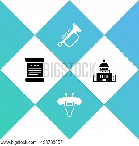 Set Declaration Of Independence, Sausage The Fork, Trumpet And White House Icon. Vector