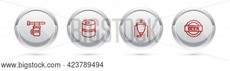 Set Line Signboard With Glass Of Beer, Metal Keg, Beer Brewing Process And Bottle Cap. Silver Circle