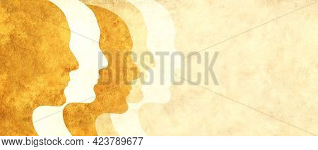 Together we are stronger. Horizontal banner with paper texture and abstract humans profiles of different colors. Concept - multicultural social unity of people of different races. Copy space for text