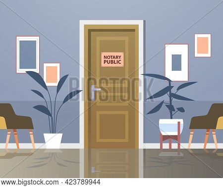 Notary Public Office Door Signing And Legalization Documents Concept