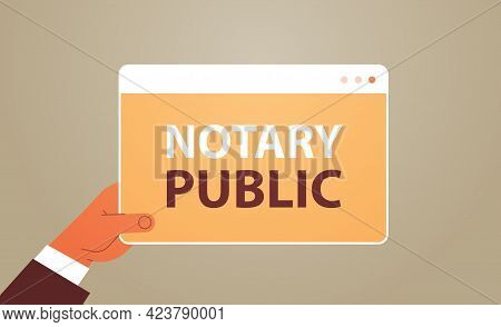 Hand Holding Notary Public Web Banner Signing And Legalization Documents Concept