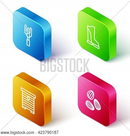 Set Isometric Line Garden Rake, Waterproof Rubber Boot, Hive For Bees And Seeds Icon. Vector