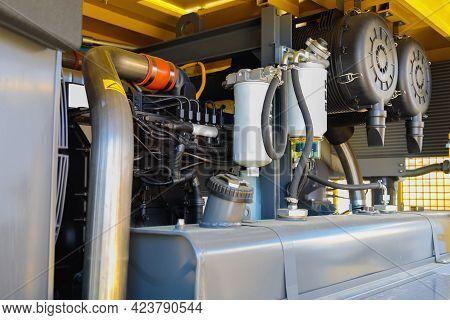 Internal Details Of Portable Compressors Close-up. Compressors For Power Generation