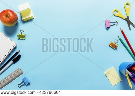 Flat Lay With Schooling, Work Or Educational Concept With Various School Accessories, Pens, Pencil,