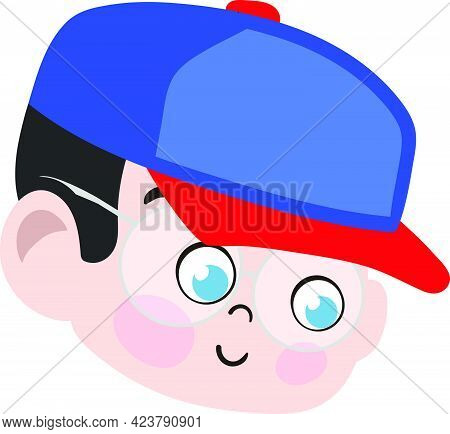 Cute Boy Child Face. Smart And Adorable Boy Child With Blue Trucker Hat. Cute Face With Innocent Exp