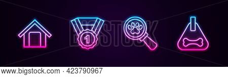 Set Line Dog House, Award Symbol, Veterinary Clinic And Collar. Glowing Neon Icon. Vector