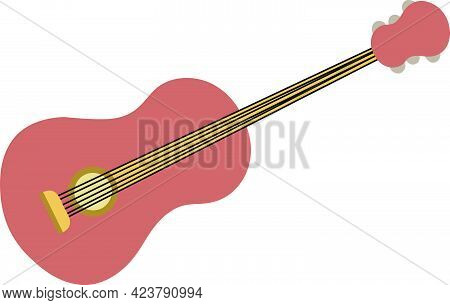 Brown Acoustic Guitar Vector Isolated On White Background. Children Book Illustration Graphics. Musi