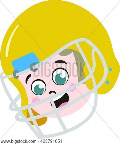 Cute Kid Face. Cute And Adorable Rugby Player With Yellow Helmet. Cute Face With Innocent Expression