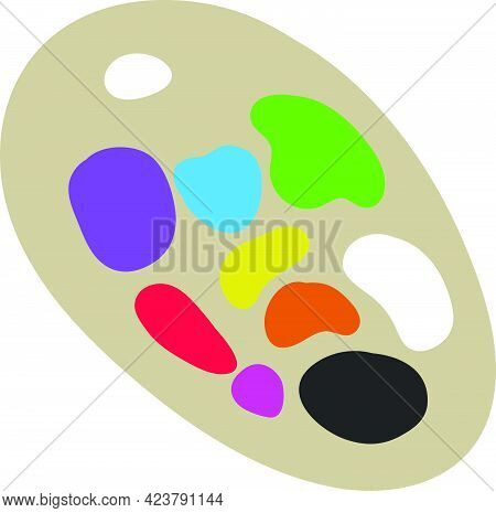 Artist Paint Pallet Vector Isolated On White Background. Children Book Illustration Graphics. Tools