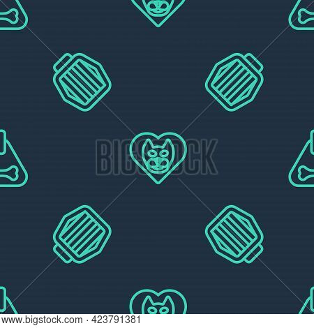 Set Line Heart With Cat, Pet Carry Case And Dog Collar On Seamless Pattern. Vector