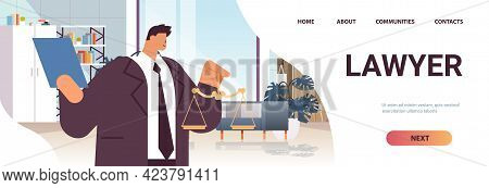 Male Lawyer Or Judge Consult Holding Scales Law And Legal Advice Service Concept Modern Office Inter