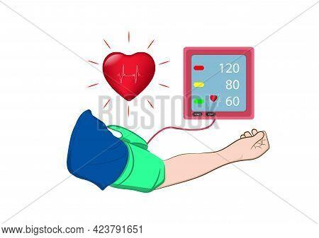 Digital Device Medical Equipment For Measuring Pressure, Diagnose Hypertension, Heart, Vector Illust