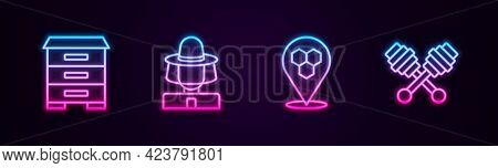 Set Line Hive For Bees, Beekeeper With Protect Hat, Honeycomb Location And Dipper Stick. Glowing Neo