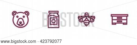 Set Line Bear Head, Bee, Jar Of Honey And Hive For Bees Icon. Vector