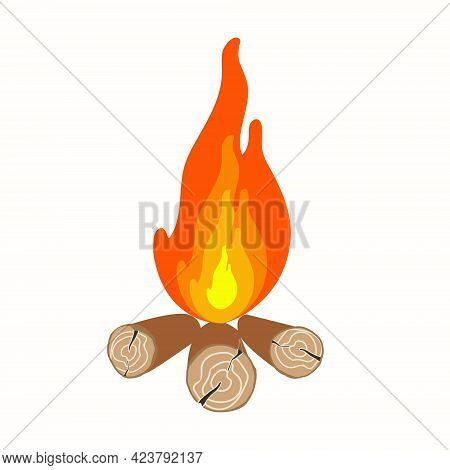 Realistic Campfire On A White Bon Is Isolated. Fire With Burning Wood. Vector Natural Phenomenon