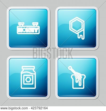 Set Line Hanging Sign With Honeycomb, Honeycomb, Jar Of And Dipper Stick Icon. Vector