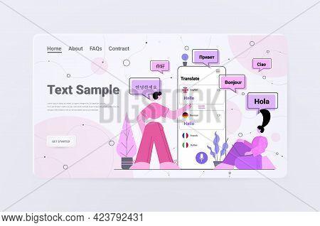 People Using Mobile Translation Application Multilingual Greeting International Communication Concep