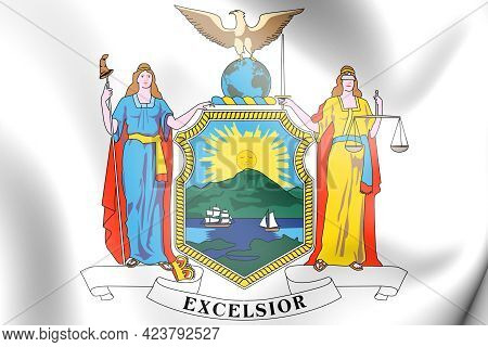3d New York State Coat Of Arms, Usa. 3d Illustration.