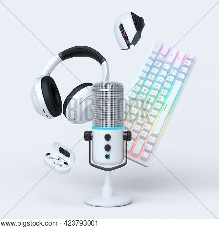 Flying Gamer Gears Like Mouse, Keyboard, Joystick, Headset, Vr Headset. Microphone On White Table Ba