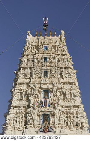 Pushkar, Rajasthan, India - November 4, 2008: Ornate Tower Of Rangnath Hindu Temple In Pushkar, Raja