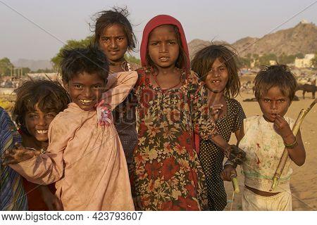 Pushkar, Rajasthan, India - November 5, 2008: Group Of Children At The Annual Pushkar Fair In Rajast