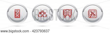 Set Line Mobile With Baseball Ball, Team Of Players, Baseball Mechanical Scoreboard And Monitor Game