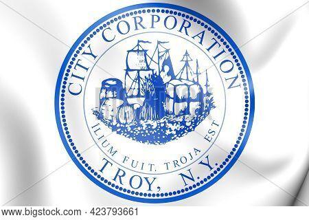 3d Seal Of Troy (new York), Usa. 3d Illustration.