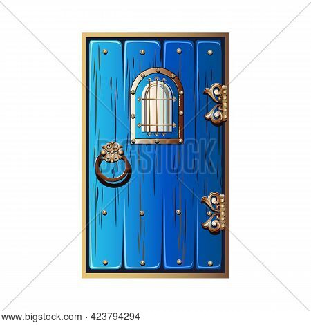 An Ancient Fabulous Door With A Window And Wrought Iron Handles. The Door Is Painted Blue With Gold
