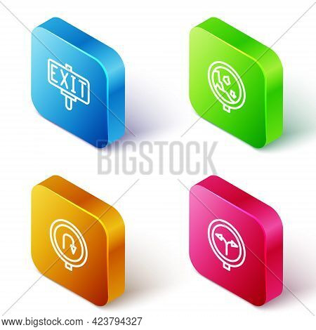 Set Isometric Line Fire Exit, Road Warning Rockfall, Turn Back Road Sign And Fork The Icon. Vector