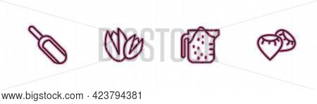 Set Line Scoop Flour, Measuring Cup, Pistachio Nuts And Seed Icon. Vector