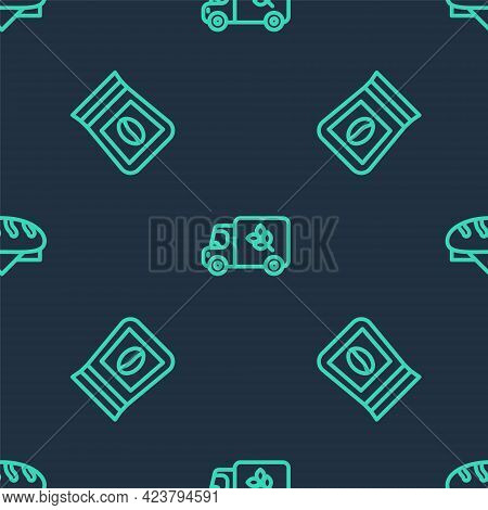 Set Line Flour Truck, Bag Of Coffee Beans And Bread Loaf On Seamless Pattern. Vector