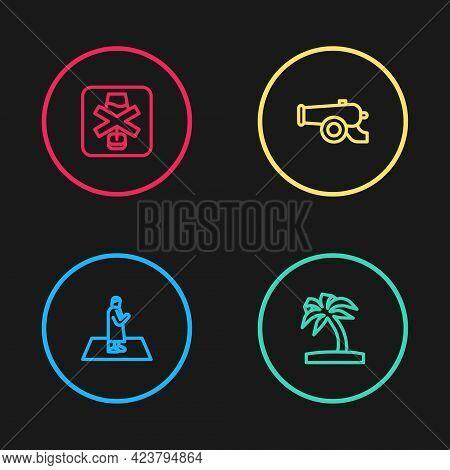 Set Line Muslim Man Prays, Tropical Palm Tree, Ramadan Cannon And No Alcohol Icon. Vector