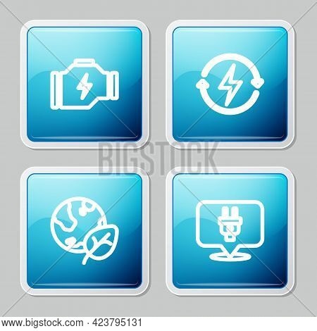 Set Line Check Engine, Recharging, Earth Globe And Leaf And Electric Plug Icon. Vector