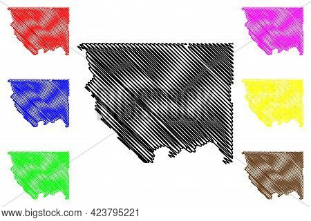Okanogan County, State Of Washington (u.s. County, United States Of America, Usa, U.s., Us) Map Vect