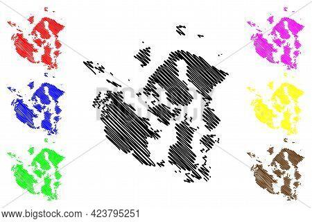 San Juan County, State Of Washington (u.s. County, United States Of America, Usa, U.s., Us) Map Vect