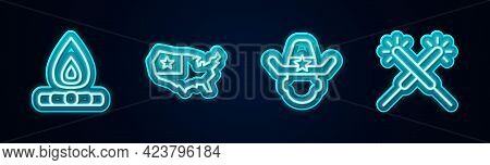 Set Line Campfire, Usa Map, Sheriff Cowboy And Sparkler Firework. Glowing Neon Icon. Vector