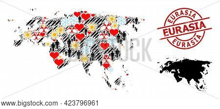 Rubber Eurasia Stamp Seal, And Lovely Men Covid-2019 Treatment Mosaic Map Of Europe And Asia. Red Ro