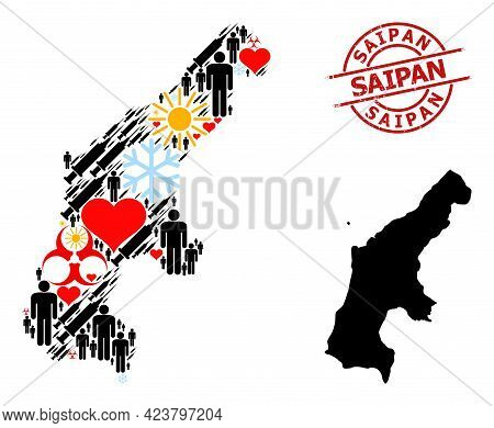 Rubber Saipan Stamp Seal, And Lovely Men Infection Treatment Mosaic Map Of Saipan Island. Red Round