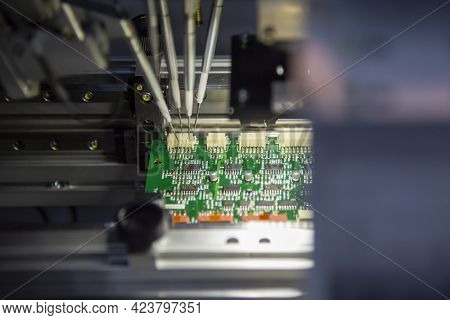 The Automatic System Assembly Line For Electronics Circuit Board. The Hi-technology Manufacturing Pr